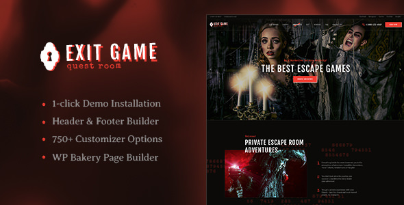 Exit Game v1.1 - Real-Life Room Escape WordPress Theme