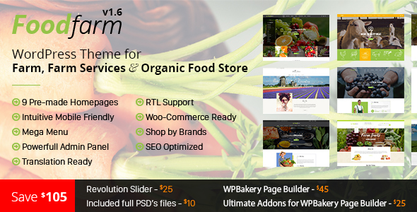 FoodFarm v1.7.7 - WordPress Theme for Farm and Organic Food Store