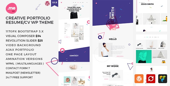 Me v2.1 - Creative Portfolio & Resume / CV WordPress Theme