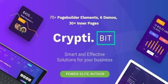 CryptiBIT - Technology, Cryptocurrency, ICO, IEO Landing Page WordPress Theme