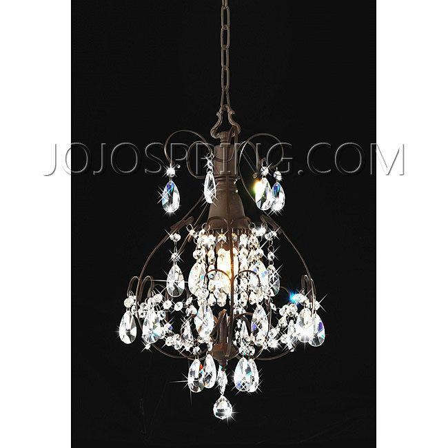 Brushed Oak 1 Light Teardrop Crystal Chandelier Bcy 71kj