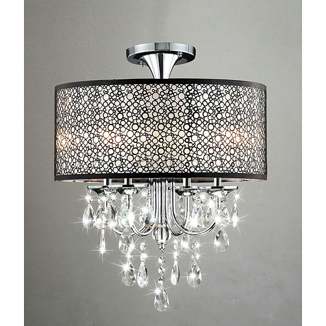 Bubble Shade Crystal And Chrome Flushmount Chandelier B727 Dw
