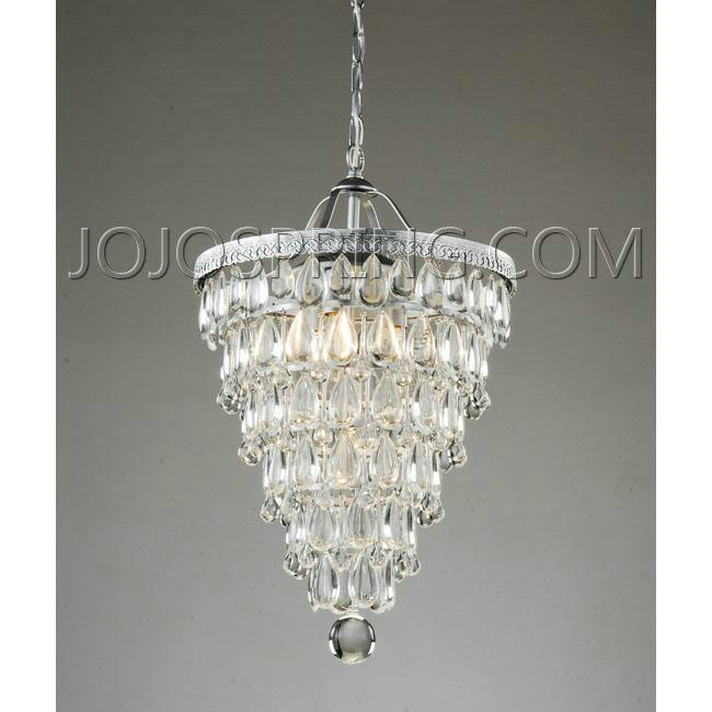 Cone Shape 4 Light Matte Silver Crystal Chandelier L559 Cfc 24