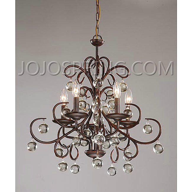 Wrought Iron And Crystal 5 Light Chandelier B204