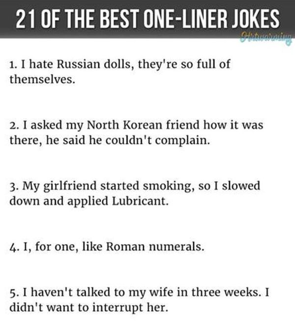 funny one liner jokes