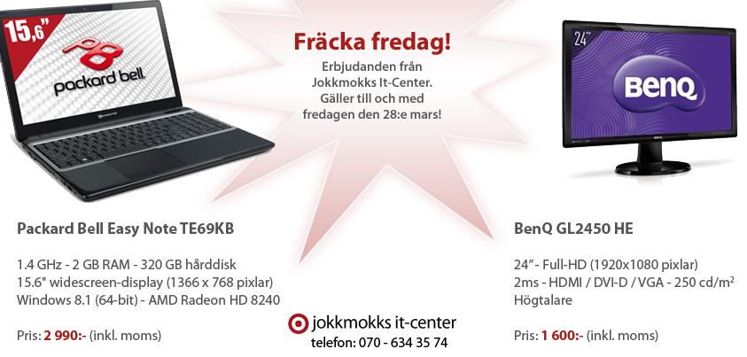 Fräcka fredag - Erbjudande: Bärbar dator och BenQ-bildskärm till bra priser