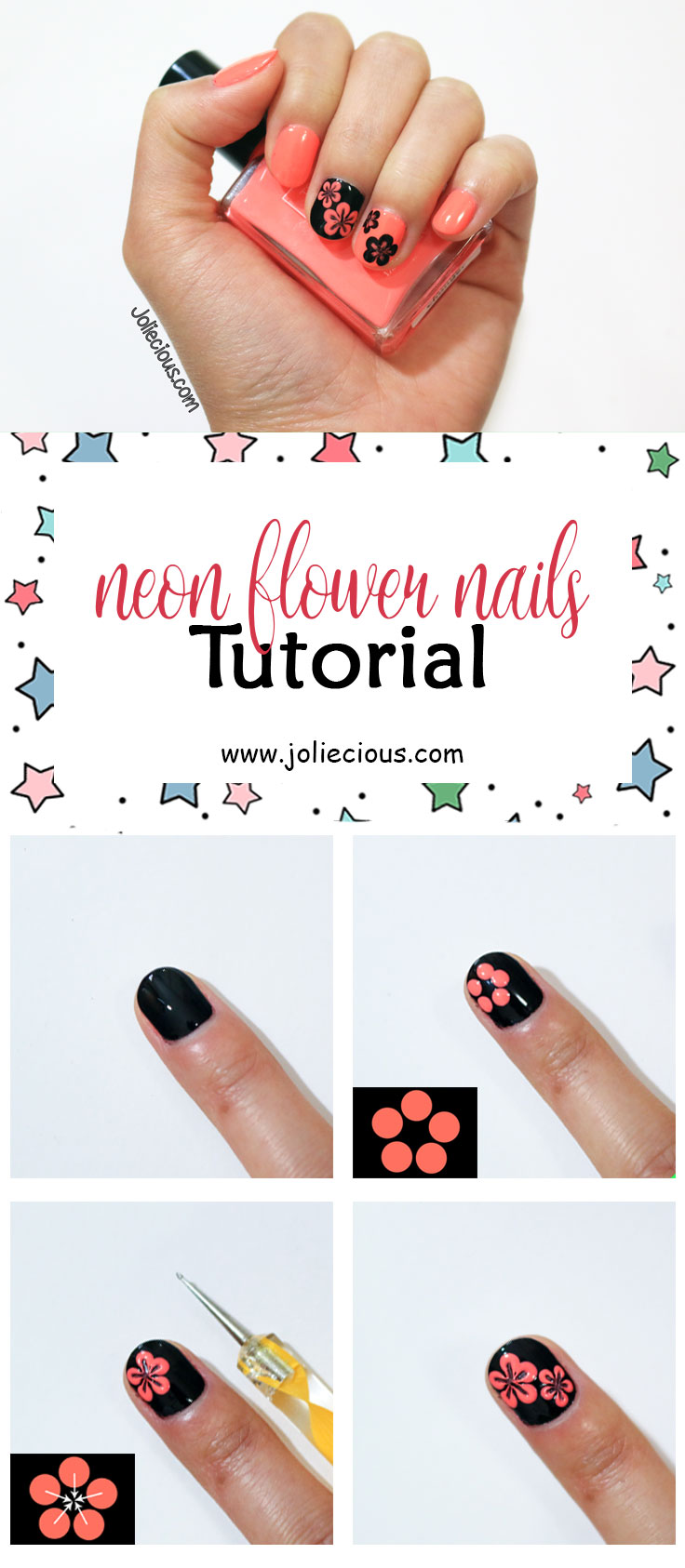 Neon flower nails tutorial