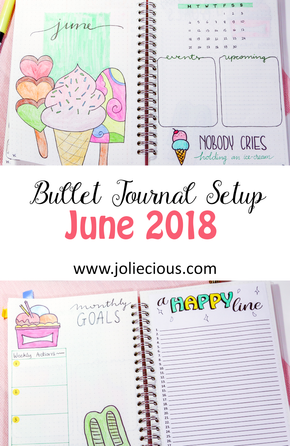 june 2018 bullet journal setup plan with me