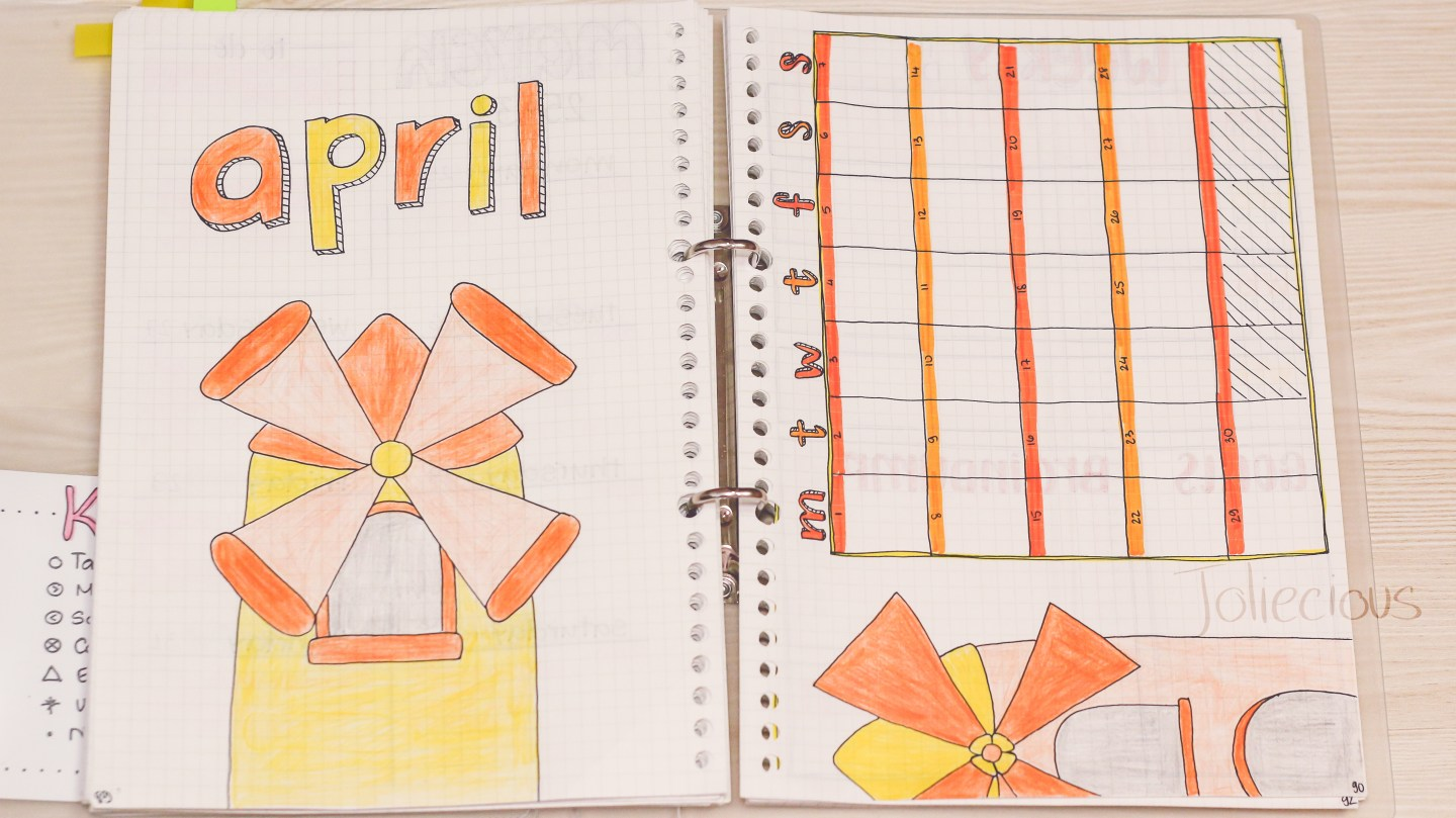 april-bullet-journal-setup-windmill-theme-monthly