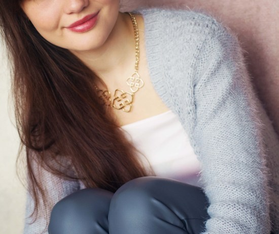 Fashion blogger wearing Top Shop fluffy grey cardigan and grey leather trousers