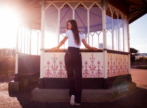 Woman stood in front of bandstand Lytham St Annes