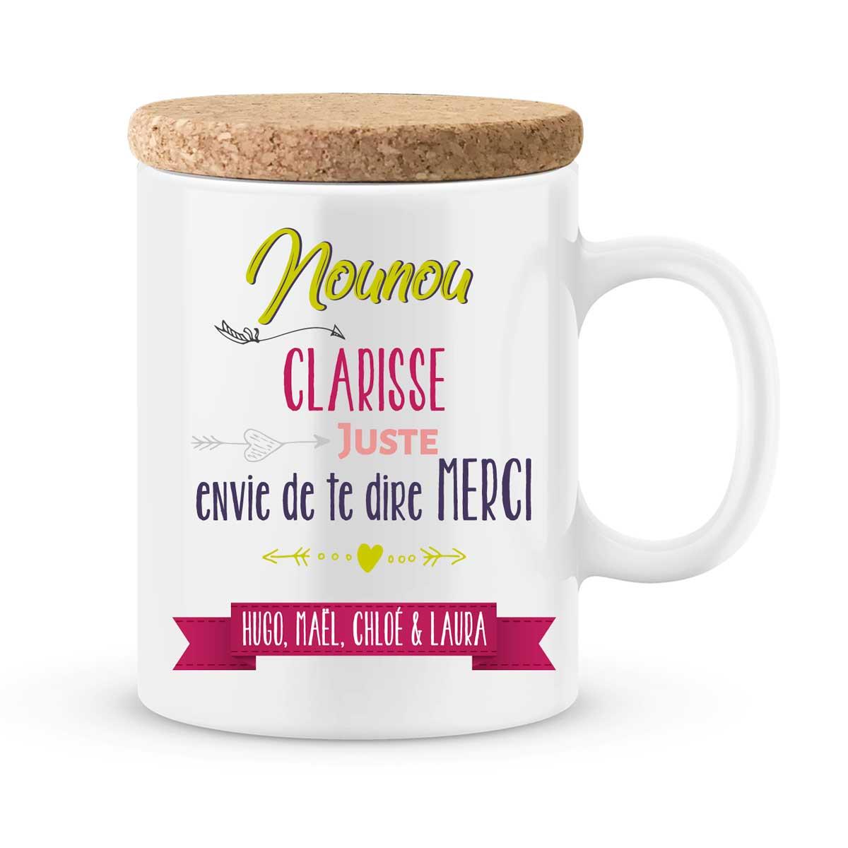 cadeau nounou mug personnalise avec prenom juste merci nounou