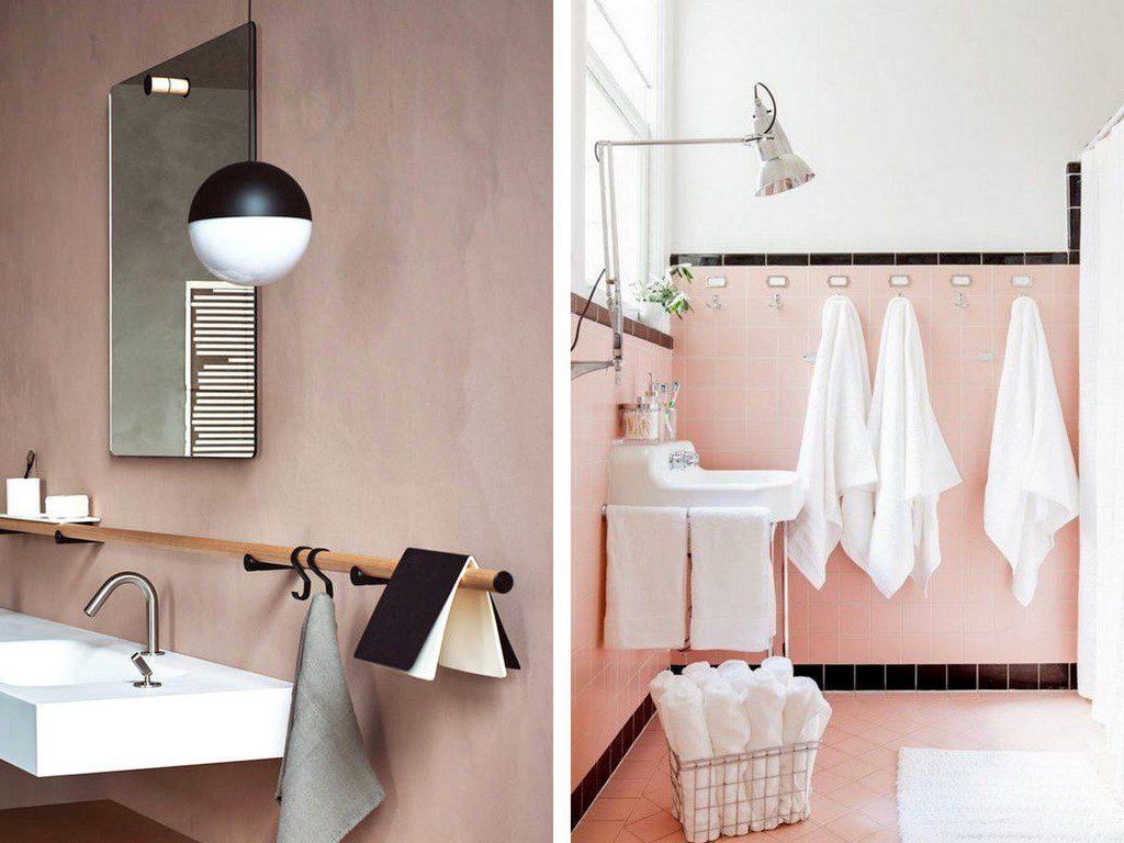 rose dans la salle de bains