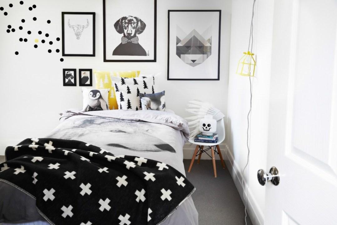 Noir et blanc s 39 invitent dans la chambre d 39 enfant joli tipi - Chambre jaune blanc ...