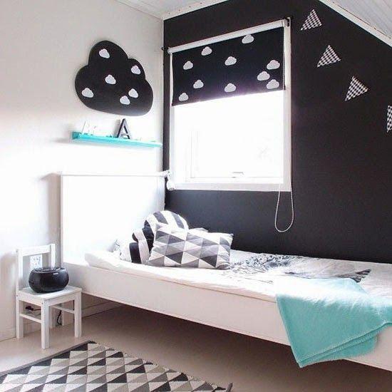 noir-blanc-bleu-déco-chambre-enfant