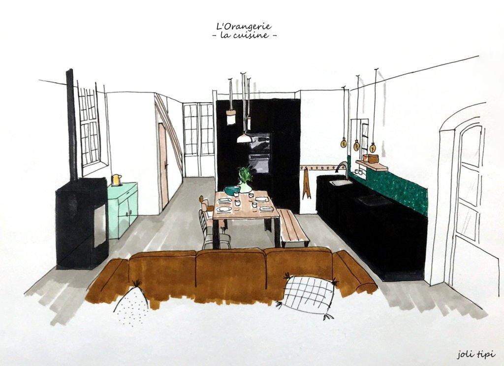 croquis 3D cuisine noire Orangerie