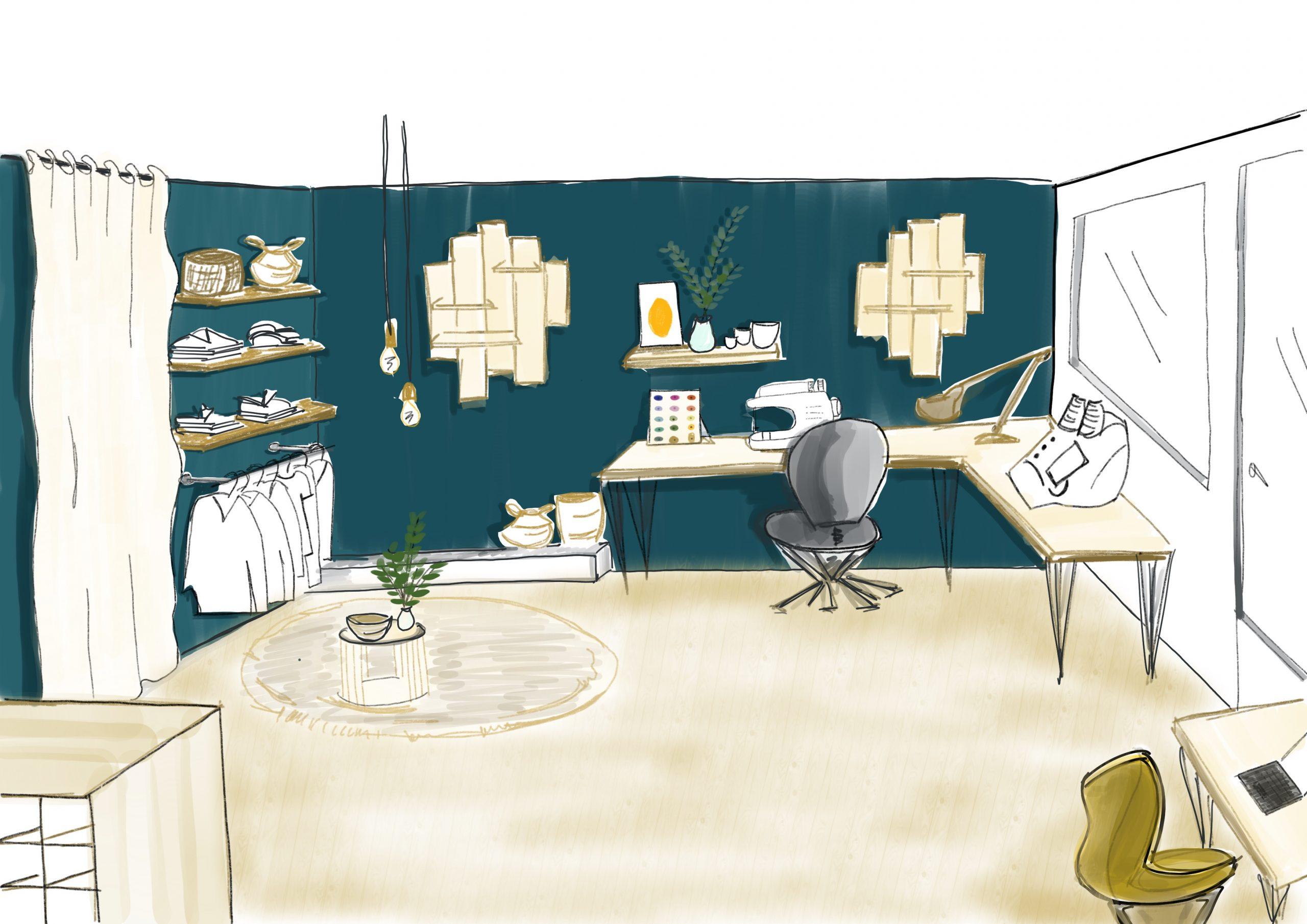 Croquis 3D déco et aménagement boutique