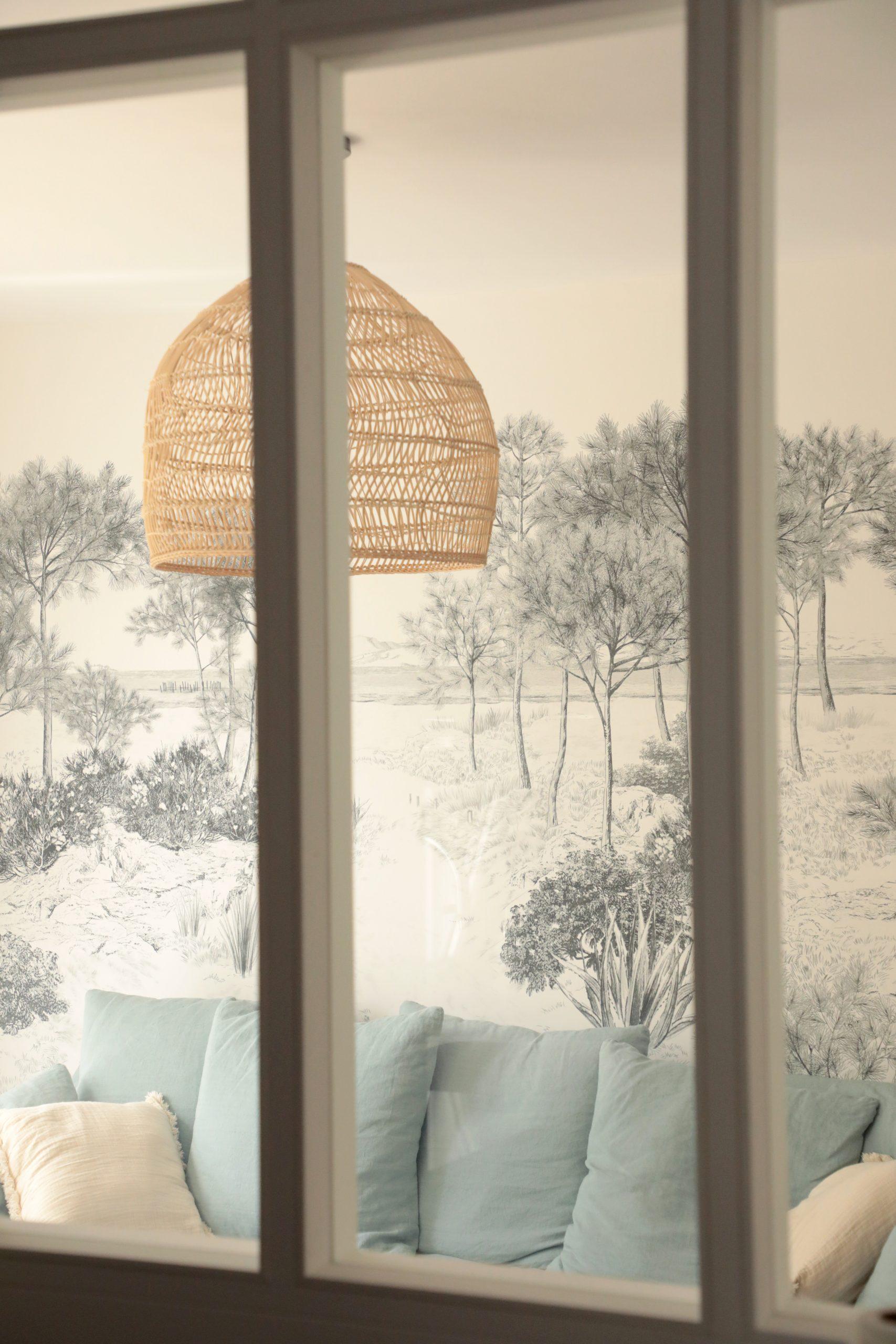 Salon décoration papier peint panoramique
