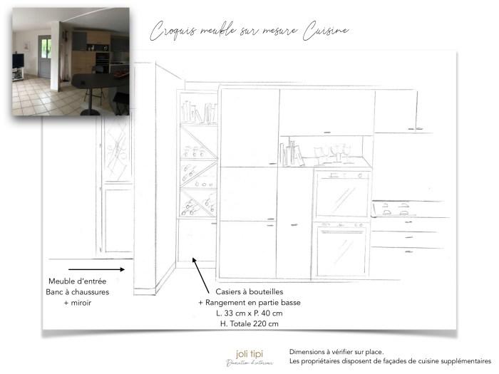 Croquis meuble de cuisine sur mesure