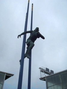Statue of Brian Bevan outside Halliwell Jones Stadium, Warrington