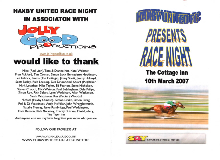 Race Card Example,Cover, A5, Front And Back