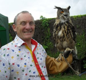 Ron holding an owl from the Birds of Prey Display