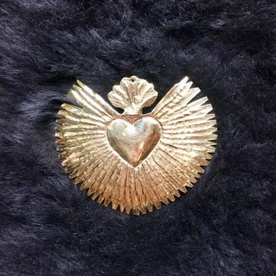 coeur rayonnant laiton doré