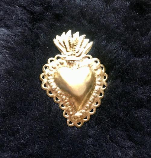 coeur ex voto en laiton doré