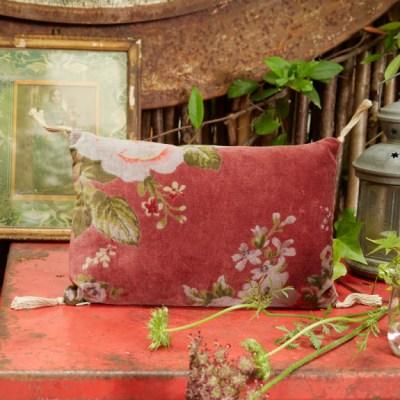 coussin velours à fleurs terracotta