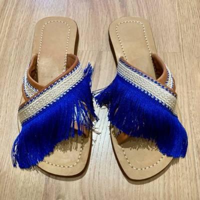 sandales mules cuir brodées bleu majorelle