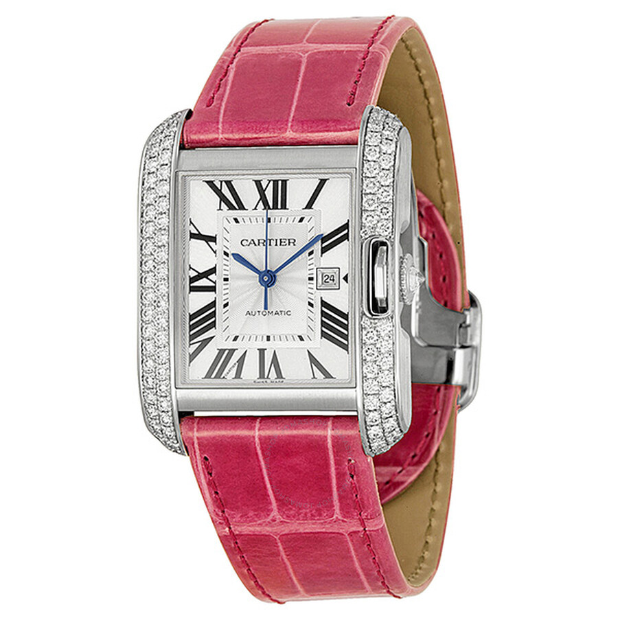 Cartier Tank Anglaise Large 18k White Gold Diamond Bezel Pink     Cartier Tank Anglaise Large 18k White Gold Diamond Bezel Pink Leather Watch  WT100018