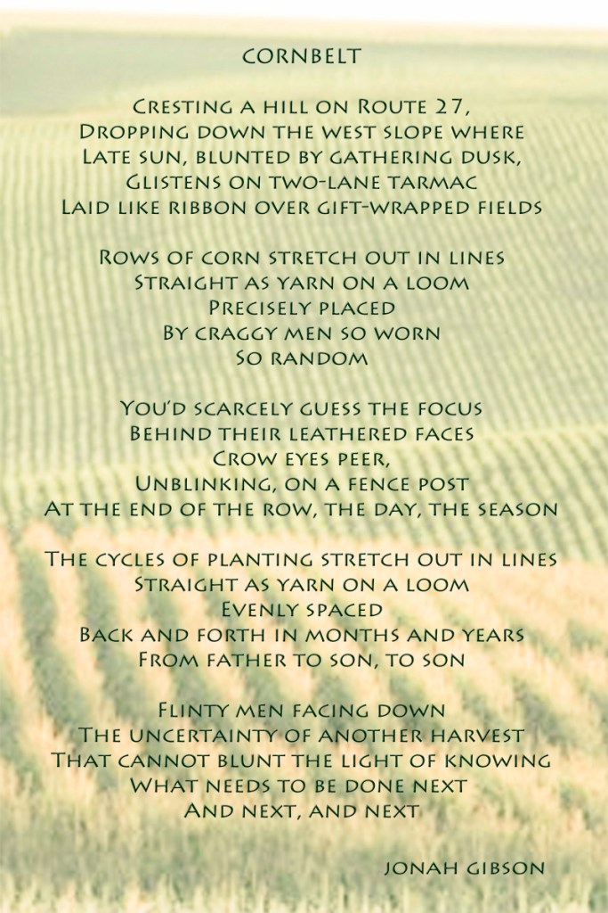 poemography: poetry text on photograph of a cornfield