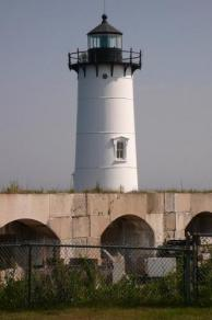 The lighthouse at Fort Constitution on New Castle Island.