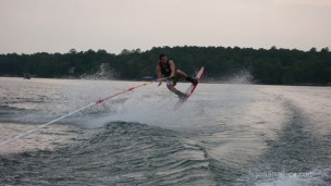 Here's Jared getting some air on the wake board.