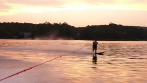 Sunset, one ski, and a hot time in Arkansas