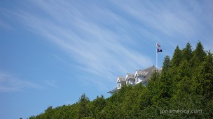 We're now climbing up the hill to Fort Mackinac. These are the peaks of a private residence.
