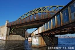 The BU Bridge and train bridge