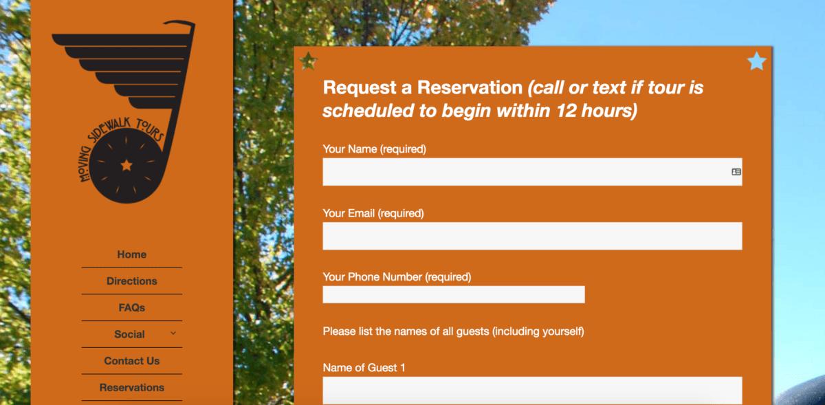Moving Sidewalk Tours Registration Form