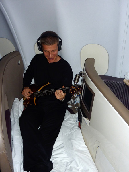 Playing in bed on the plane