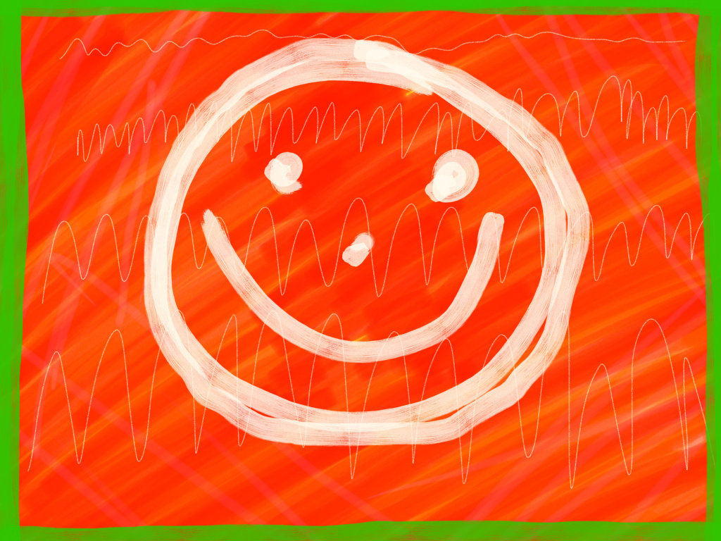 Smiling Face on a Red Background
