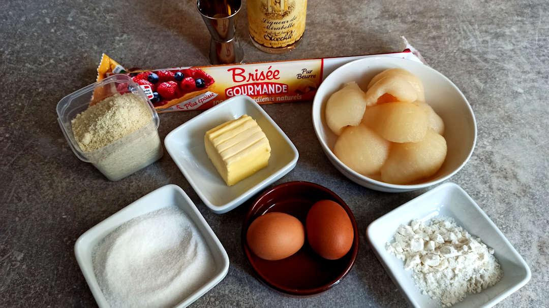 Les ingrédients de la tarte aux poires amandine