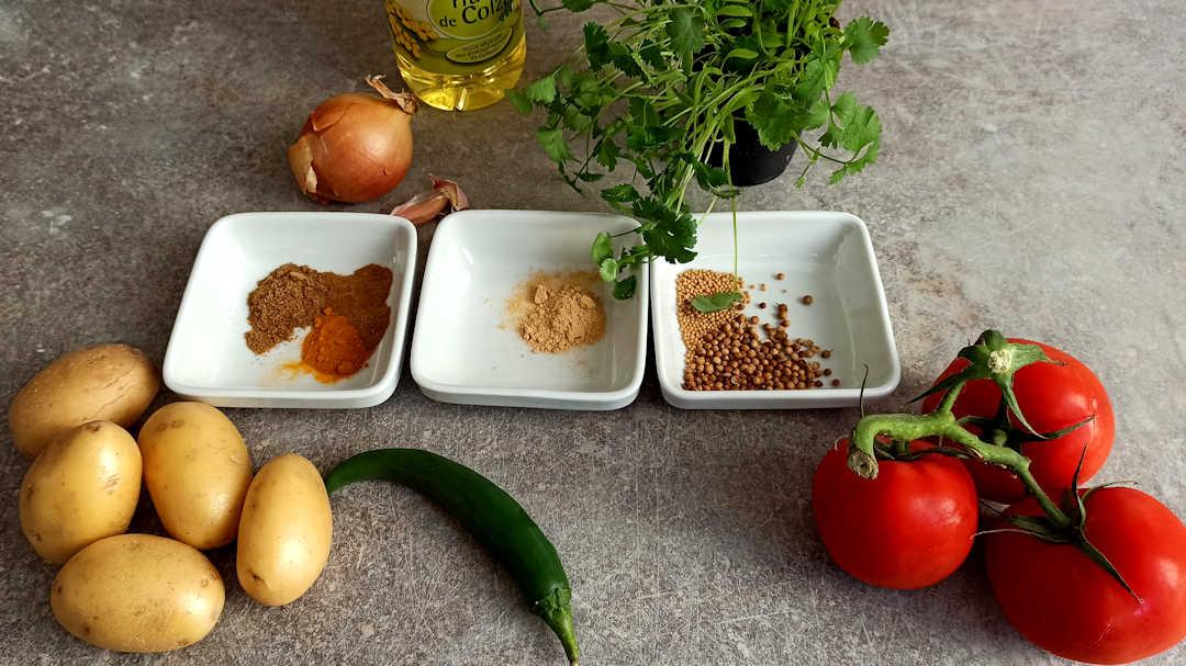 Les ingrédients des Bombay potatoes