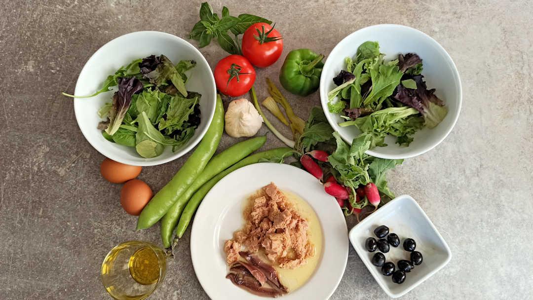 Les ingrédients de la salade niçoise
