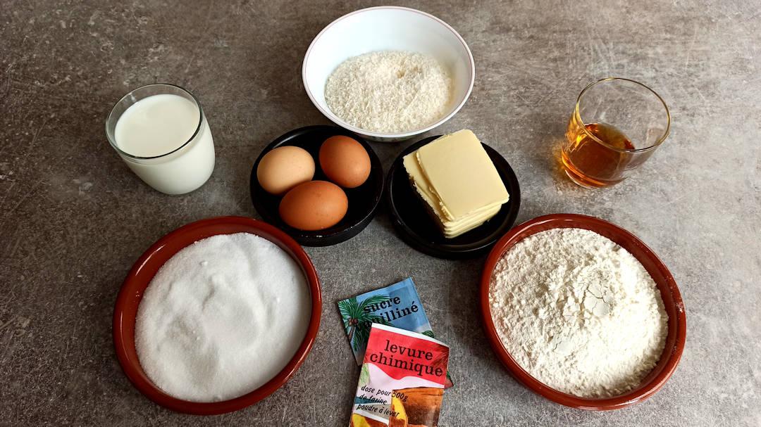 Les ingrédients du cake rhum noix de coco
