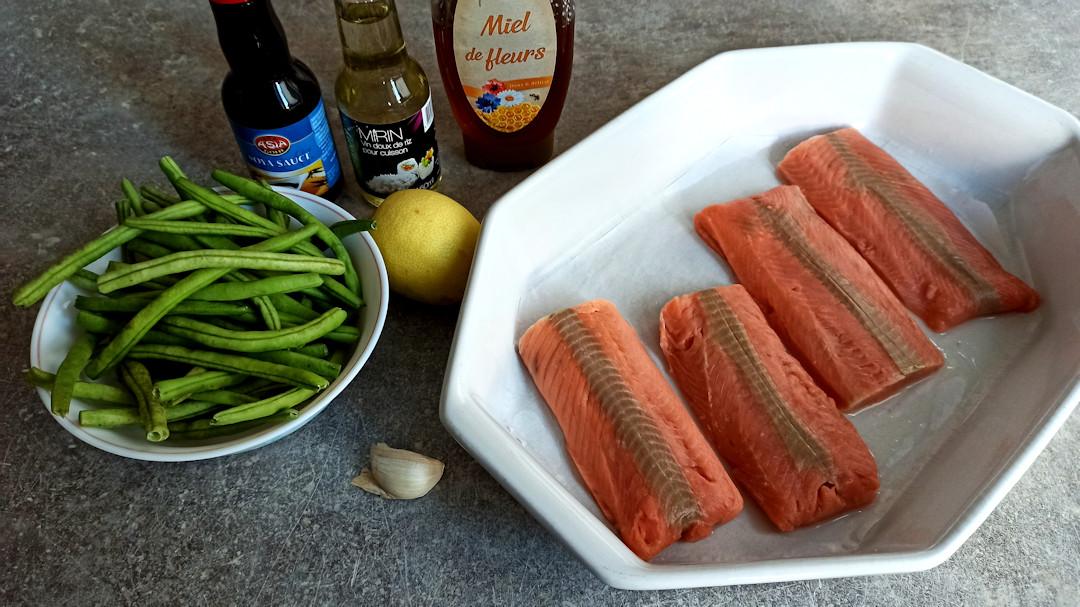 Les ingrédients du saumon teriyaki