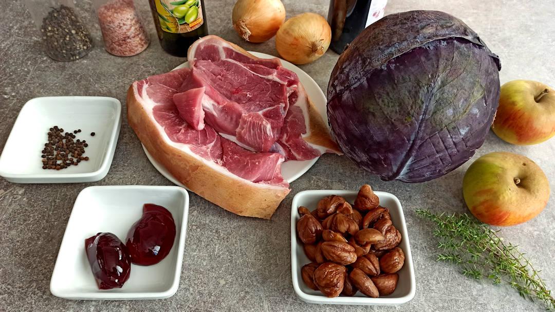 Les ingrédients du mijoté de porc au chou rouge