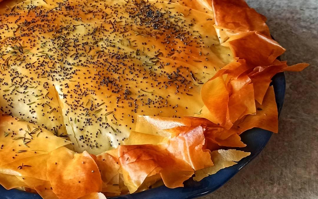 Tarte aux poulet et poireaux à la pâte filo