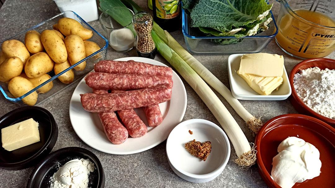 Les ingrédients du parmentier de saucisses