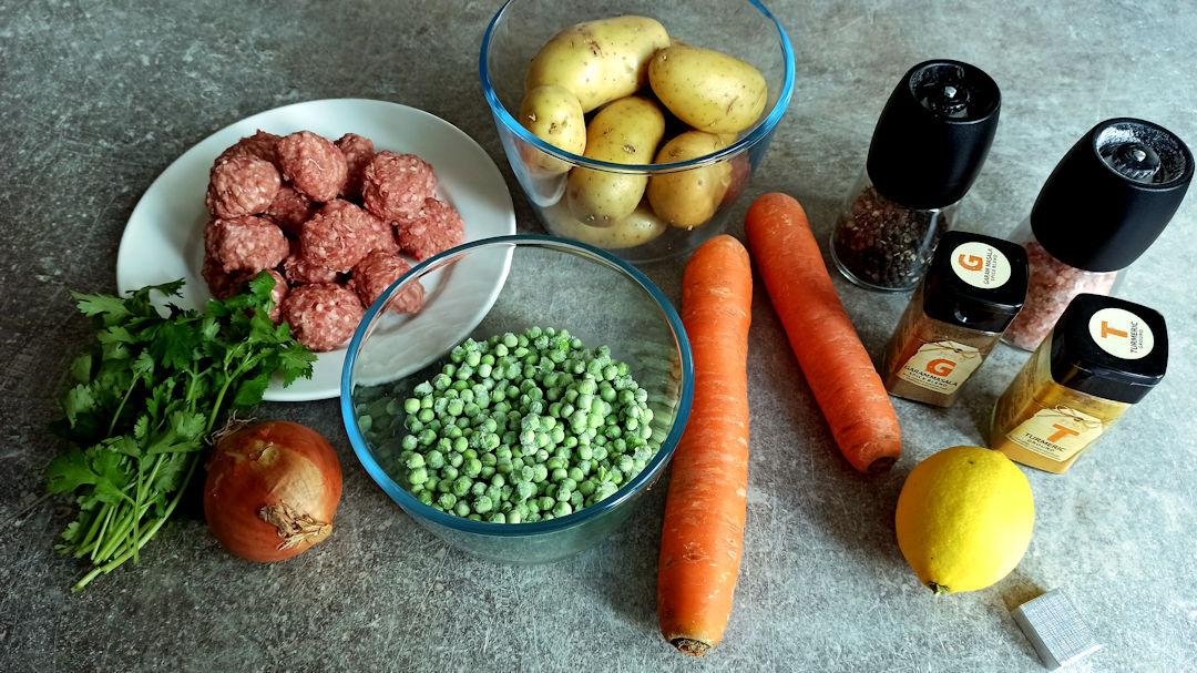 Les ingrédients du shepherd's pie aux saveurs indiennes