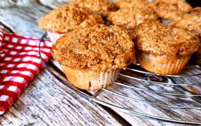 Muffins aux framboises et crumble à la cannelle
